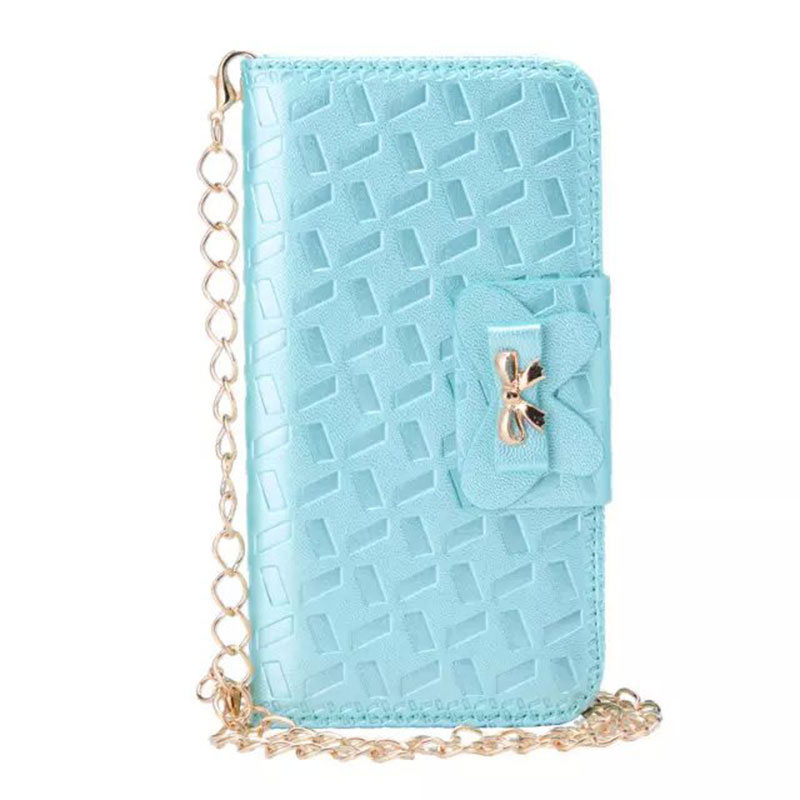 Bowknot Embossing Flip Magnatic Case for Samsung S6 Edge - Blue