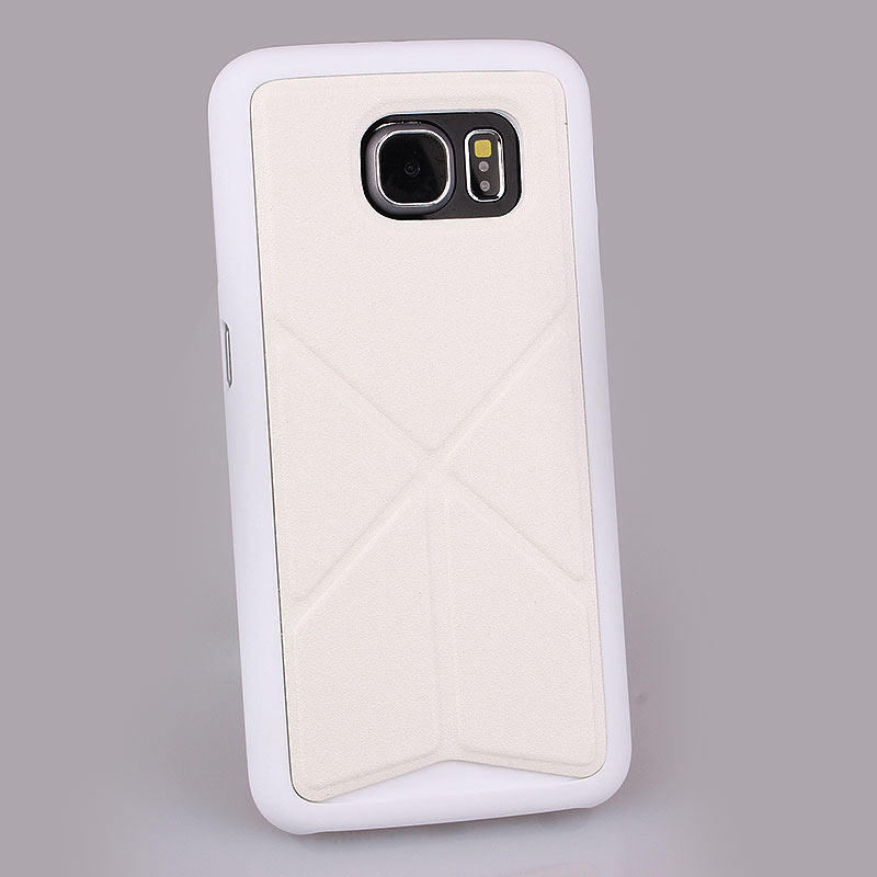 TPU+Leather Case with Foldable Stand for Samsung S6 - White