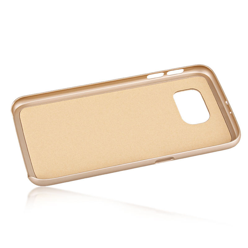 TPU+Leather Case with Foldable Stand for Samsung S6 - Gold
