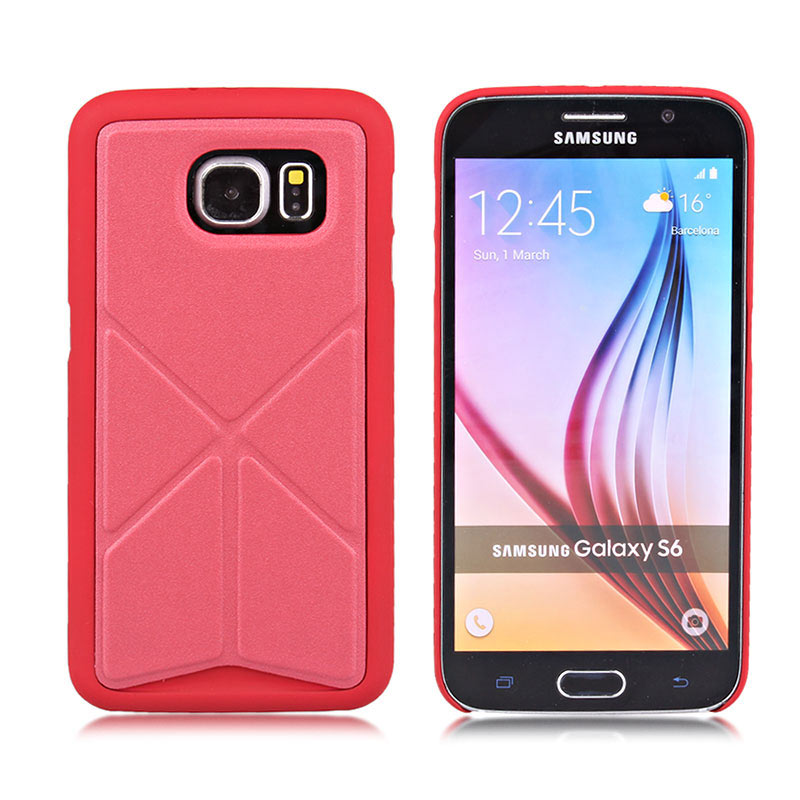TPU+Leather Case with Foldable Stand for Samsung S6 - Red