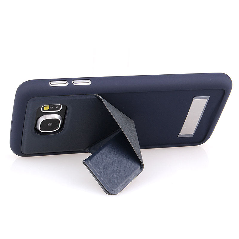 TPU+Leather Case with Foldable Stand for Samsung S6 - Blue