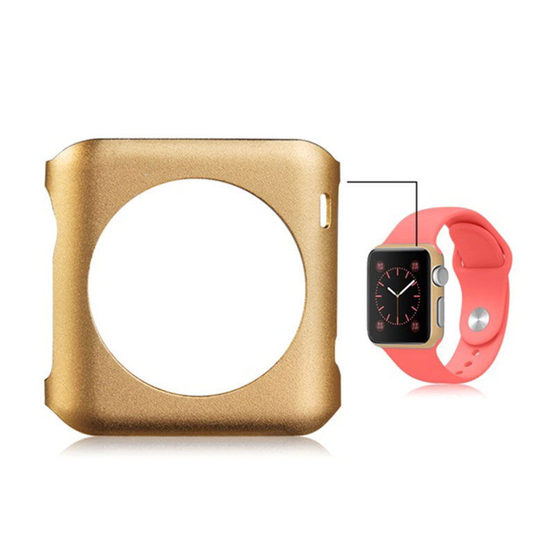 Aluminum Alloy Frame Metal Case Cover for Apple Watch 42mm - Gold