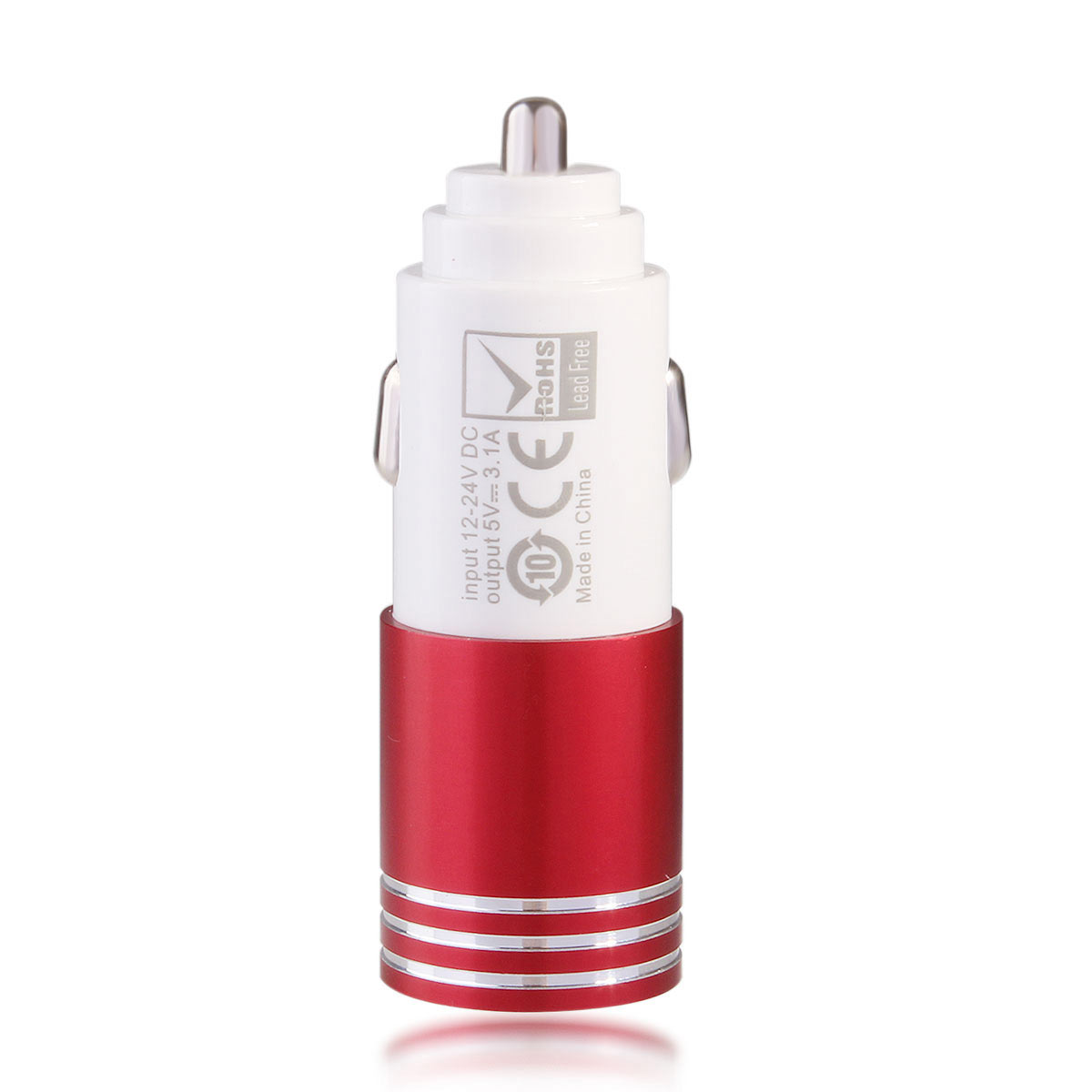 5V 3.1A Dual USB Car Charger for iPad Tablet Phone - Red