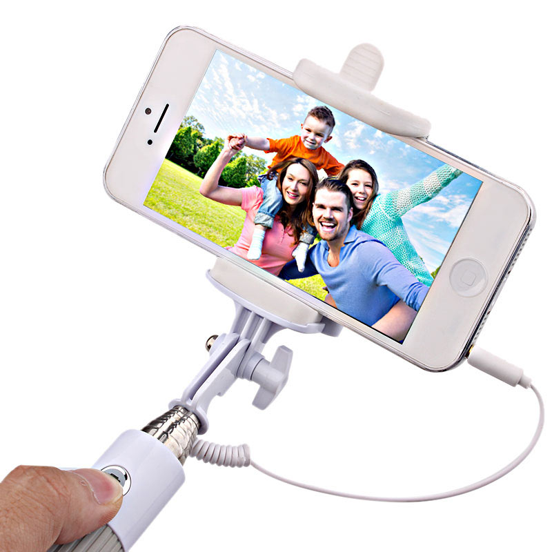 Handheld Wired Cable Selfie Stick Monopod Extendable Pole -Grey