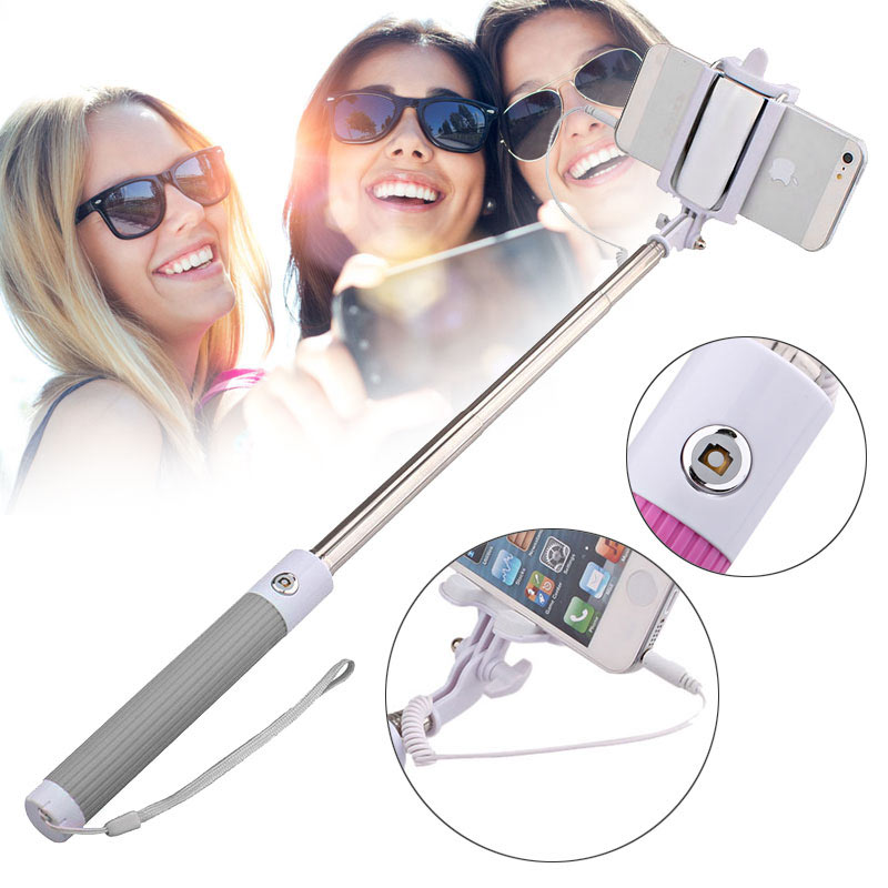 Handheld Wired Remote Selfie Stick Monopod Extendable Pole Holder -Grey