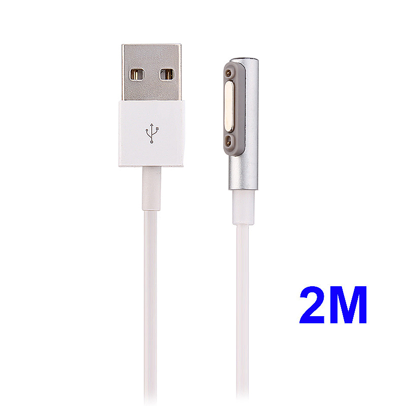 2m Metal Magnetic Data Charging Cable with LED Light for Sony Z2/Z3 - Silver