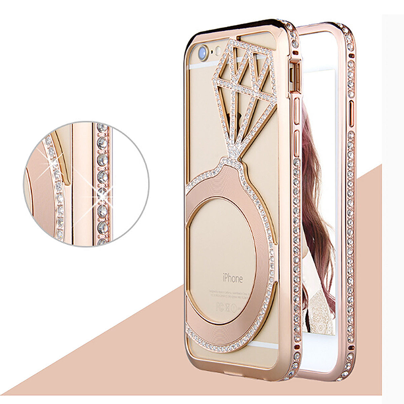 Luxury Crystal Rhinestone Bling Diamond Metal Bumper Case for iPhone 6 4.7 - Rose Gold