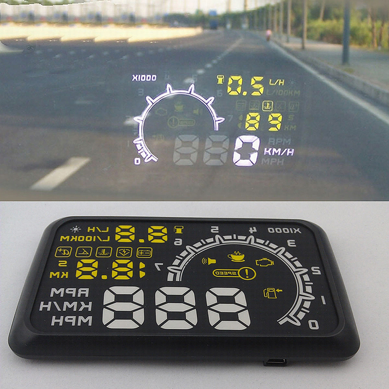 W02 5.5 Inch OBD II Car Head-up Display HUD with Speed/Speed Limit/Voltage Display