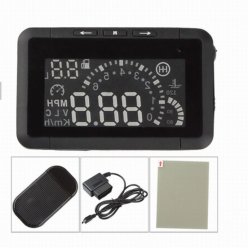 W01 2.4 Inch OBD II Car Head-up Display HUD with Speed/Speed Limit/Fuel Consumption