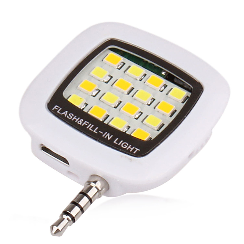 16 LED Flash Light-compensating Lamp for Smart Phones - White