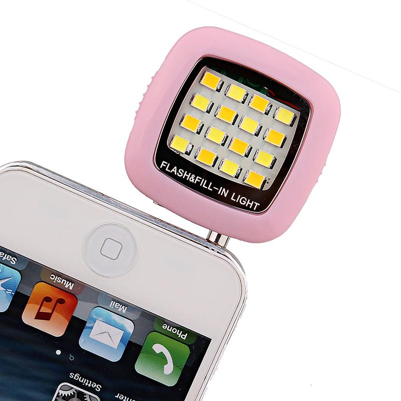 16 LED Flash Light-compensating Lamp for Smart Phones - Pink