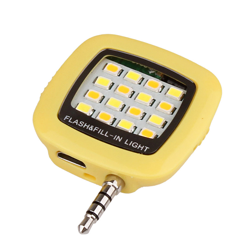 16 LED Flash Light-compensating Lamp for Smart Phones - Yellow