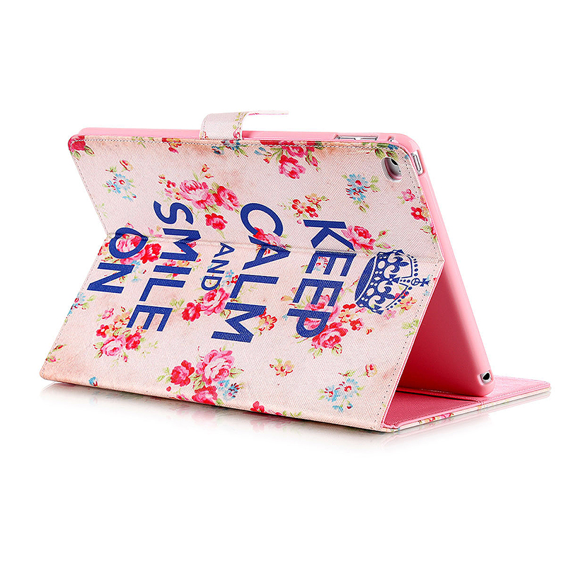 Smile & Flower Magnetic Stand Leather Case Cover for iPad 6