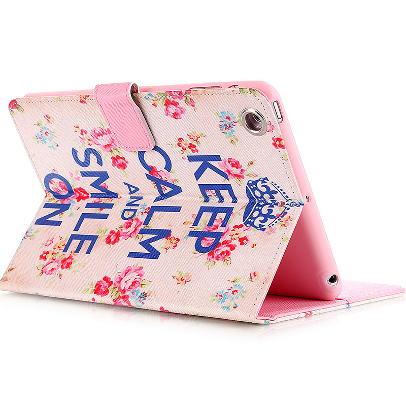 Smile & Flower Magnetic Stand Leather Case Cover for iPad Mini 1/2/3