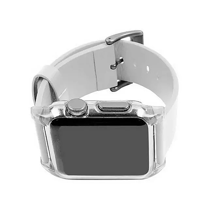 Transparent PC Shield Housing + Leather Watchband Belt for 38mm Apple Watch - White