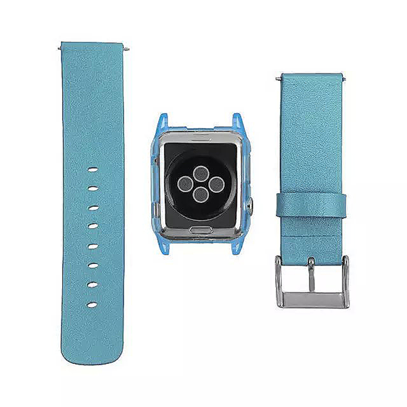 Transparent PC Shield Housing + Leather Watchband Belt for 38mm Apple Watch - Blue