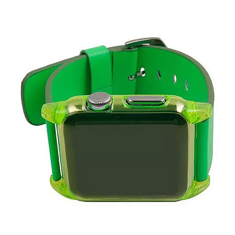 Transparent PC Shield Housing + Leather Watchband Belt for 38mm Apple Watch - Green