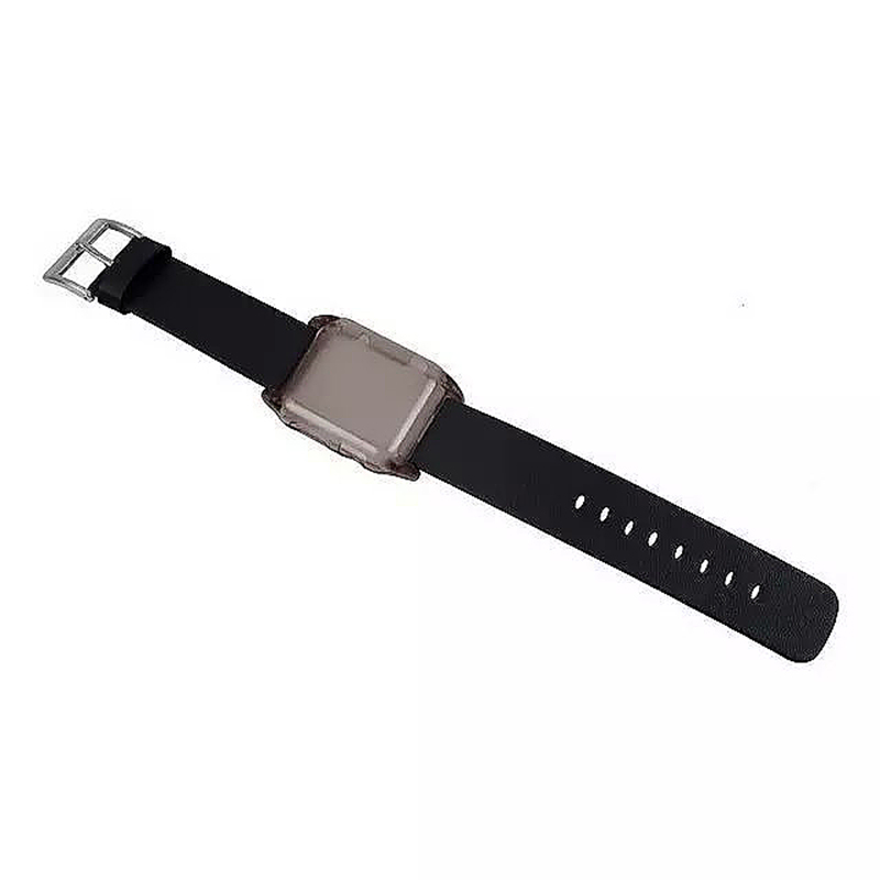 Transparent PC Shield Housing + Leather Watchband Belt for 38mm Apple Watch - Black