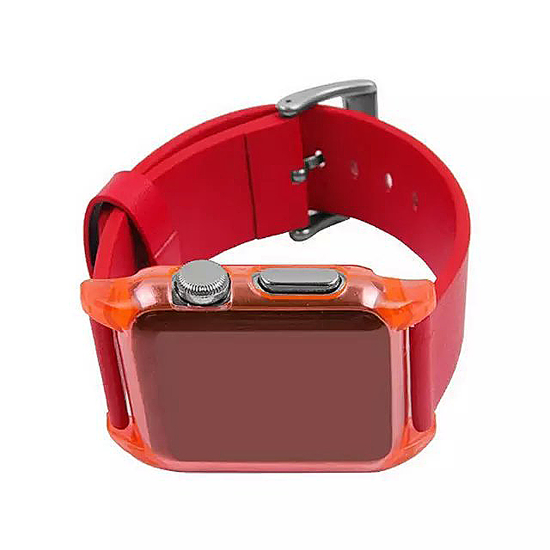Transparent PC Shield Housing + Leather Watchband Belt for 38mm Apple Watch - Red