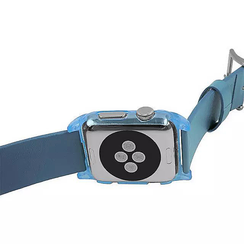 Transparent PC Shield Housing + Leather Watchband Belt for 42mm Apple Watch - Blue