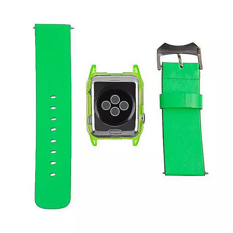 Transparent PC Shield Housing + Leather Watchband Belt for 42mm Apple Watch - Green