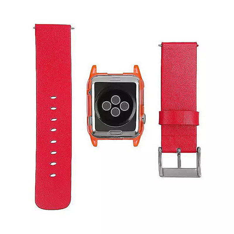 Transparent PC Shield Housing + Leather Watchband Belt for 42mm Apple Watch - Red