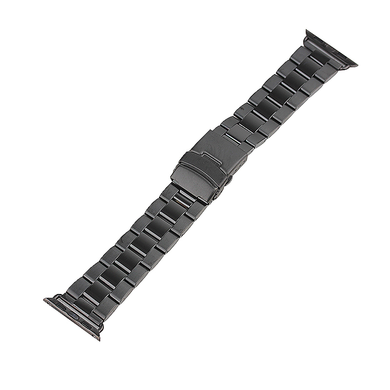 Stainless Steel Strap Classic Buckle Watch Bands for Apple Watch 42mm - Black