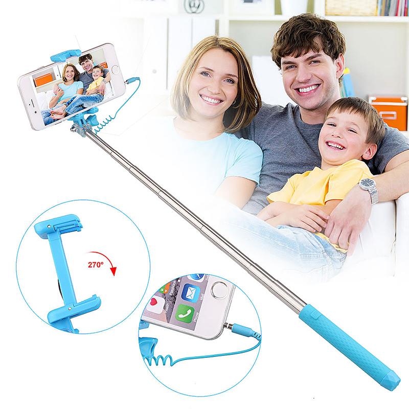 Mini Portable Pen Size Monopod Wired Remote Selfie Stick Phone Camera Holder - Blue