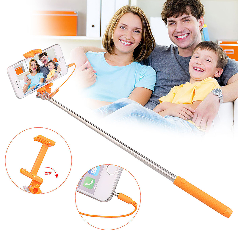 Mini Portable Pen Size Monopod Wired Remote Selfie Stick Phone Camera Holder - Orange