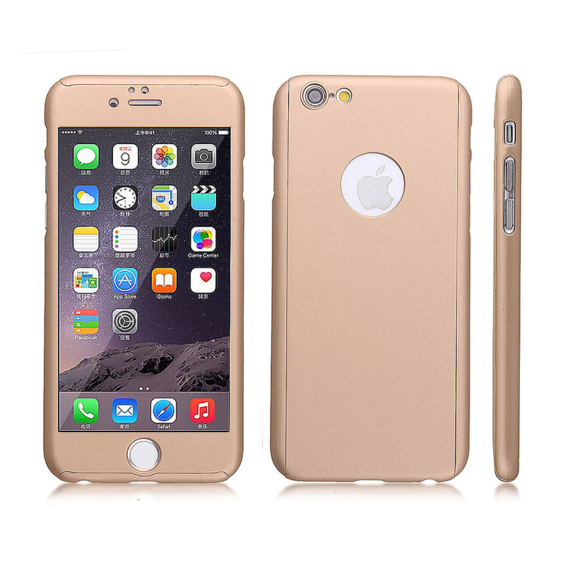 Full Cover Protection Thin Case Cover + Tempered Glass for iPhone 6 4.7 - Gold