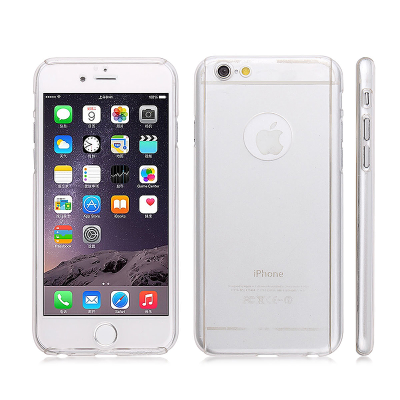 Full Cover Protection Thin Case Cover + Tempered Glass for iPhone 6 4.7 - Transparent