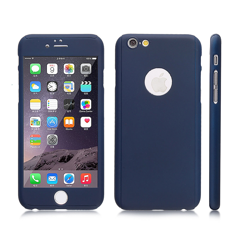 Full Cover Protection Thin Case Cover + Tempered Glass for iPhone 6 4.7 - Navy Blue