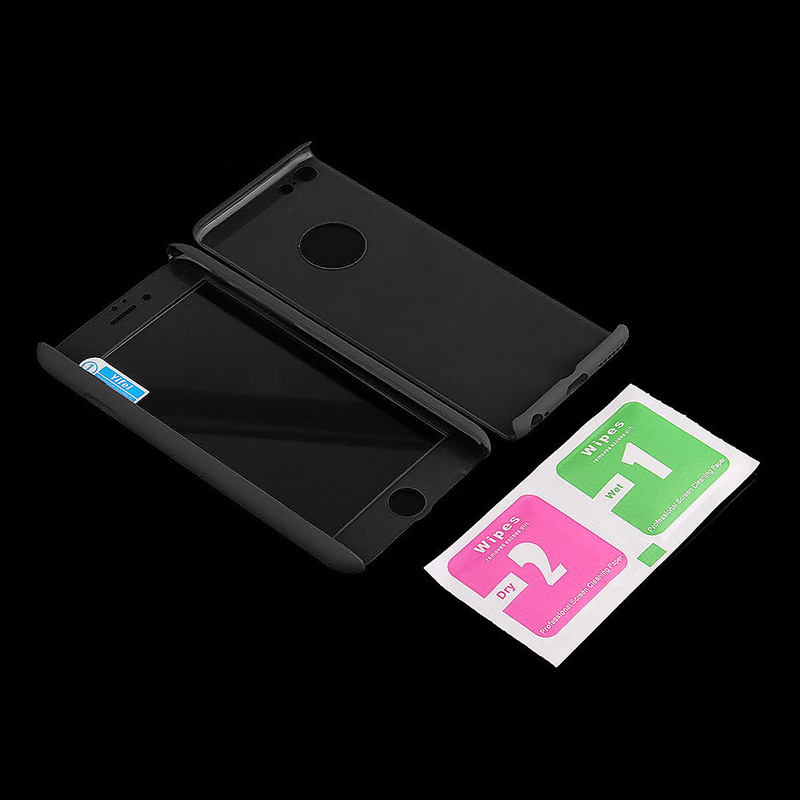 Full Cover Protection Thin Case Cover + Tempered Glass for iPhone 6 4.7 - Black