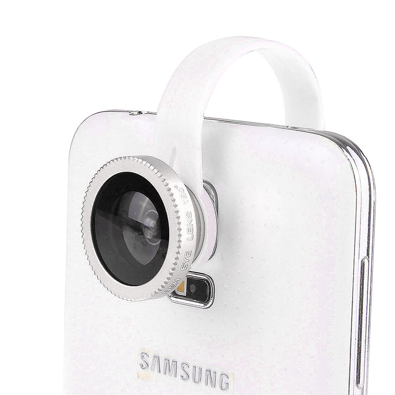 LX-C001 Universal Clip Fish Eye Lens 180 Wide Range for Mobile Phone iPhone - White