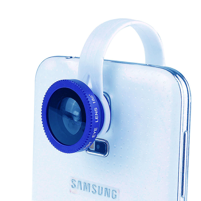 LX-C001 Universal Clip Fish Eye Lens 180 Wide Range for Mobile Phone iPhone - Blue