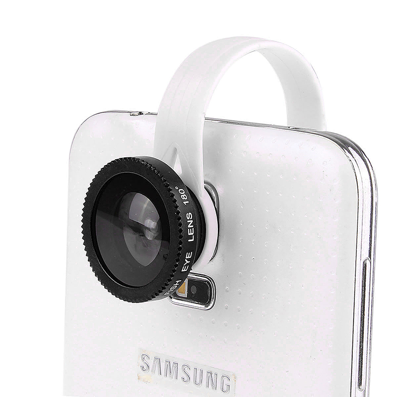 LX-C001 Universal Clip Fish Eye Lens 180 Wide Range for Mobile Phone iPhone - Black