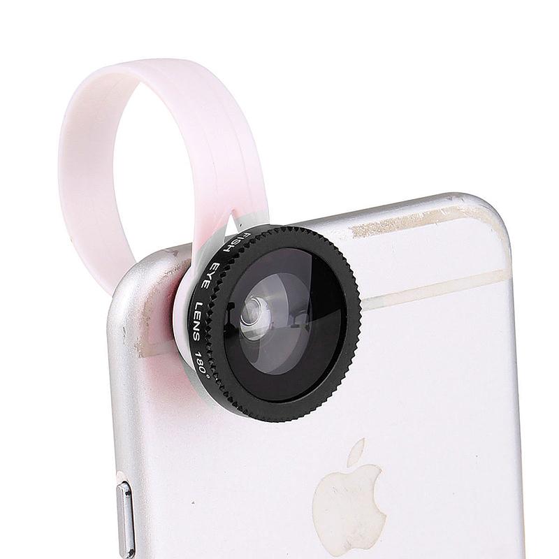 LX-C301 Universal Clip 3 in 1 Fish Eye Lens Phone Camera Kit Wide Angle Macro - Black