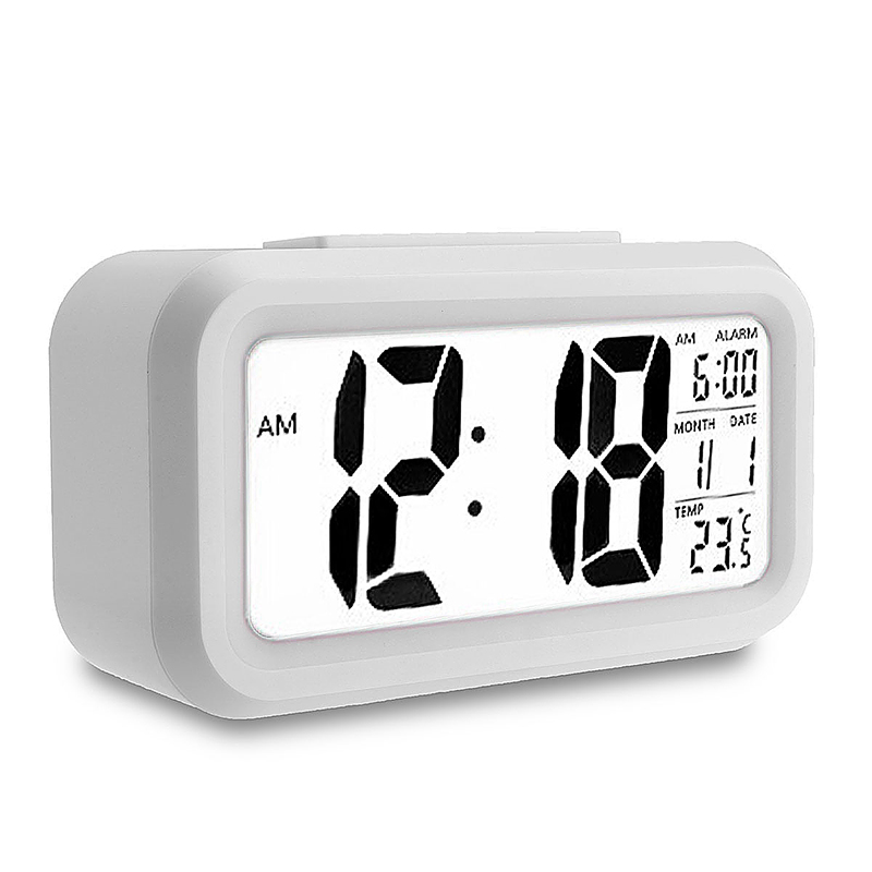 5.3 Inch Smart Simple Silent LED Digital Alarm Clock w/ Date Temp Display -White