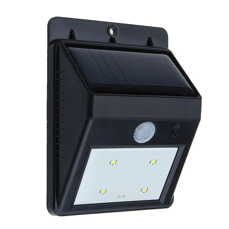 Solar 4 LED PIR Motion Sensor Garden/ Flood/ Entrance Outdoor Wall Light
