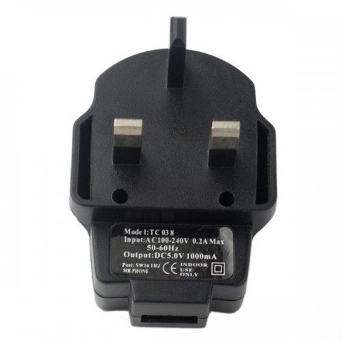 TC038 5V 1A Charger UK Plug Adapter - Black