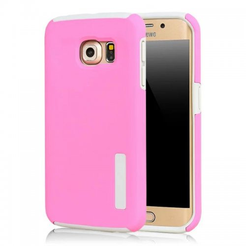 High Quality 2-in-1 Frosted PC TPU Shell Case Cover for Samsung S6 Edge - Pink