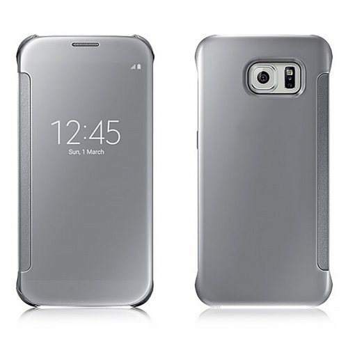 Mirror Effect Flip Smart Case Cover for Samsung Galaxy S6 Edge Plus - Silver