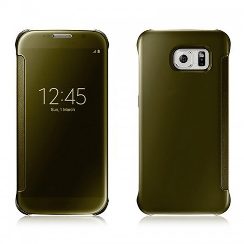 Mirror Effect Flip Smart Case Cover for Samsung Galaxy S6 Edge Plus - Gold
