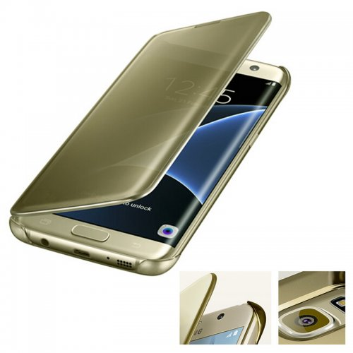 Mirror Effect Flip Smart Case Cover for Samsung Galaxy S6 Edge Plus - Gold