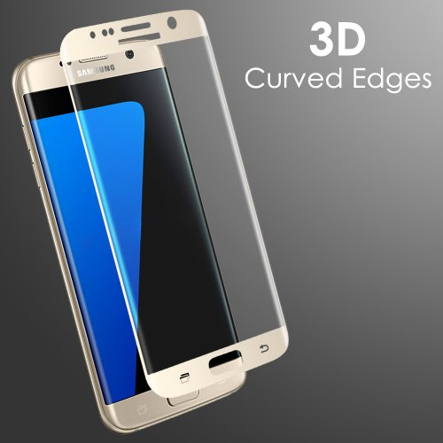 3D Curved Full Cover Tempered Glass Screen Protector for Samsung Galaxy S7 Edge - Gold