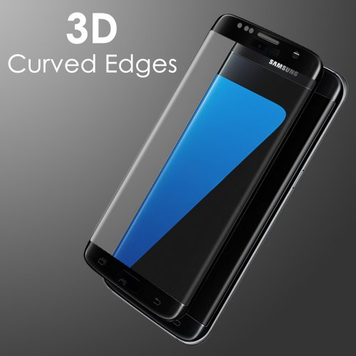 3D Curved Full Cover Tempered Glass Screen Protector for Samsung Galaxy S7 Edge - Black
