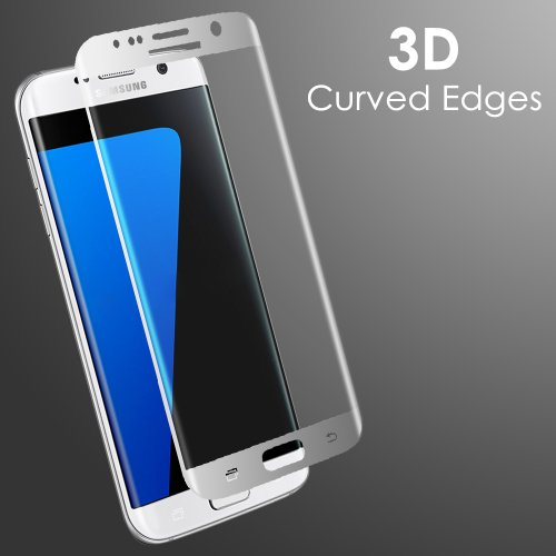 3D Curved Full Cover Tempered Glass Screen Protector for Samsung Galaxy S7 Edge - Silver