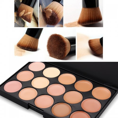 Z15-2 15 Colors Face Concealer with Power Big Brush Make Up Tool Kit