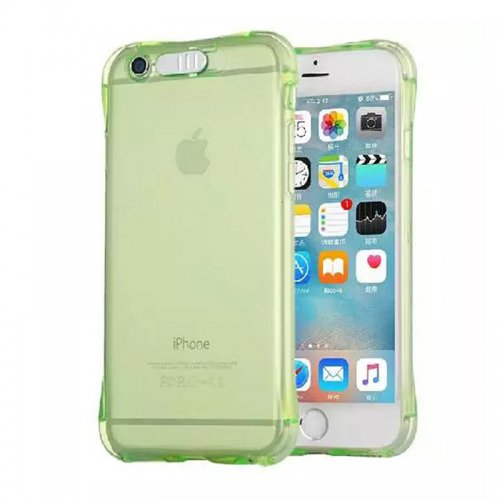 LED Flash Light Reminder Incoming Call Shockproof TPU Back Cover Case for iPhone 6 6S - Green