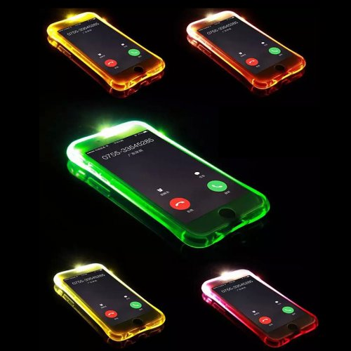 LED Flash Light Reminder Incoming Call Shockproof TPU Back Cover Case for iPhone 6 6S - Golden